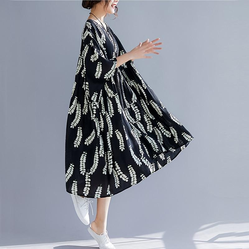 a8e1faab718 D été Robes Femme Oladivi Femmes Toile Bohème Longue Lâche Surdimensionné  Robe Plus Dames Noir 2019 De Taille Coton ...