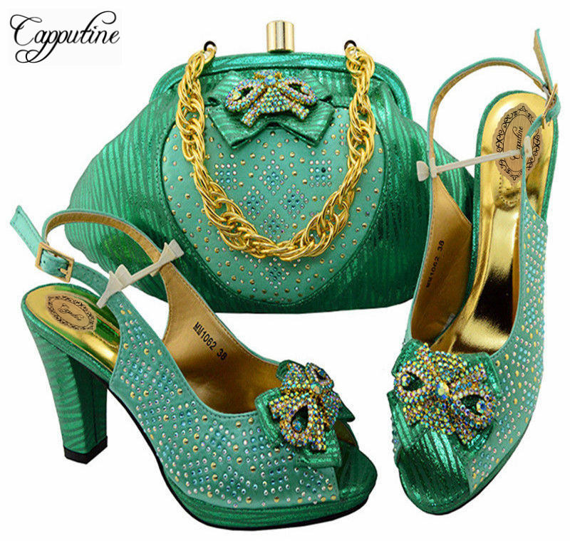 Capputine 2018 Italian Shoes And Bags To Match Set High Quality Ladies Shoes And Bag Set For Wedding/Party On Stock MM10622 italian visual phrase book