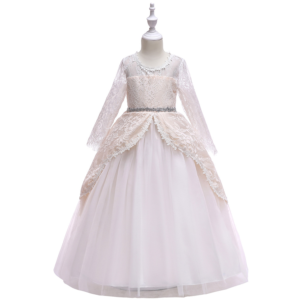 Princess Little   Girls   Pageant gown O-neck Sleeveless Appliques Beading Sash Toddler Prom Long Kids   flower     girl     dresses
