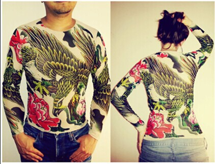 Unisex Punk Eagle Animal Tattoo <font><b>Shirt</b></font> <font><b>Mesh</b></font> <font><b>Long</b></font> Sleeves For <font><b>Men</b></font> Women Free Shipping 2018 New Fashion Summer image