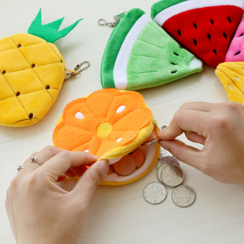 Summer Fruits Toys Lemon Watermelon Plush Toy Girl Mini Pocket Purse With Keychain Colorful Plush Toys For Kids Girls Gift