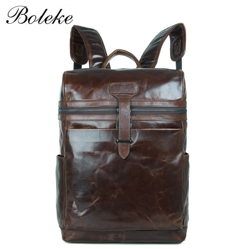 Famous Brand Men Genuine Leather Backpacks Vintage Casual Oil Wax Leather School Bag 15.6 inch Laptop Men Tote Bag 7342 famous brand luxury men backpack genuine leather vintage mochila black men sport double shoulder bag men s backpacks bp00042