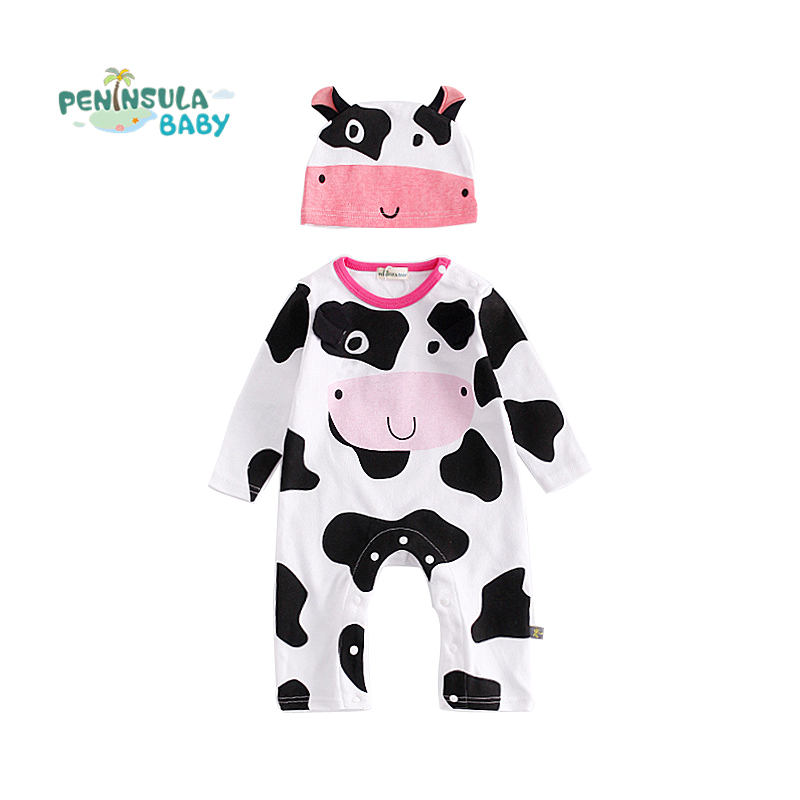 High Quality Cartoon Cows Zebra Long Sleeve Romper Baby Clothes Sets Cute Casual Jumpsuits+Hat Newborn Girls Boys Clothing Suit skullies beanies newborn cute winter kids baby hats knitted pom pom hat wool hemming hat drop shipping high quality s30