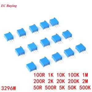100pcs 3296W 3296 1K 2K 5K 10K 20K 50K 100K 200K 500K 1M 2M 50R 100R 200R 500R 103 104 105 503 Trimpot Trimmer Potentiometer