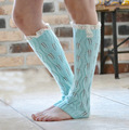 Selling crochet Woolen hollow out buttons lace boots set of leg warmers woman Knit leg set of knee 5pair/lot
