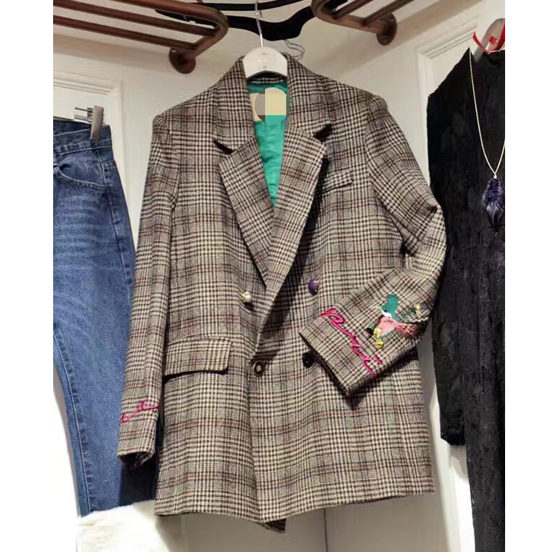 Retro Houndstooth Flower Embroidery Blazers Lapel Plaid Jacket OL Long Coat Woman Suits Loose Double-breasted Cardigan Tops
