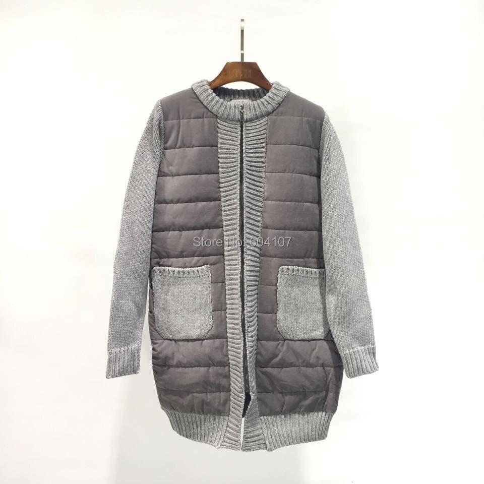 ФОТО Women's New Winter Female Quilted Coat Padding Outwear Chunky Coat Plus Size Spliced Sweater Sleeve Inner Fleece Full Zip