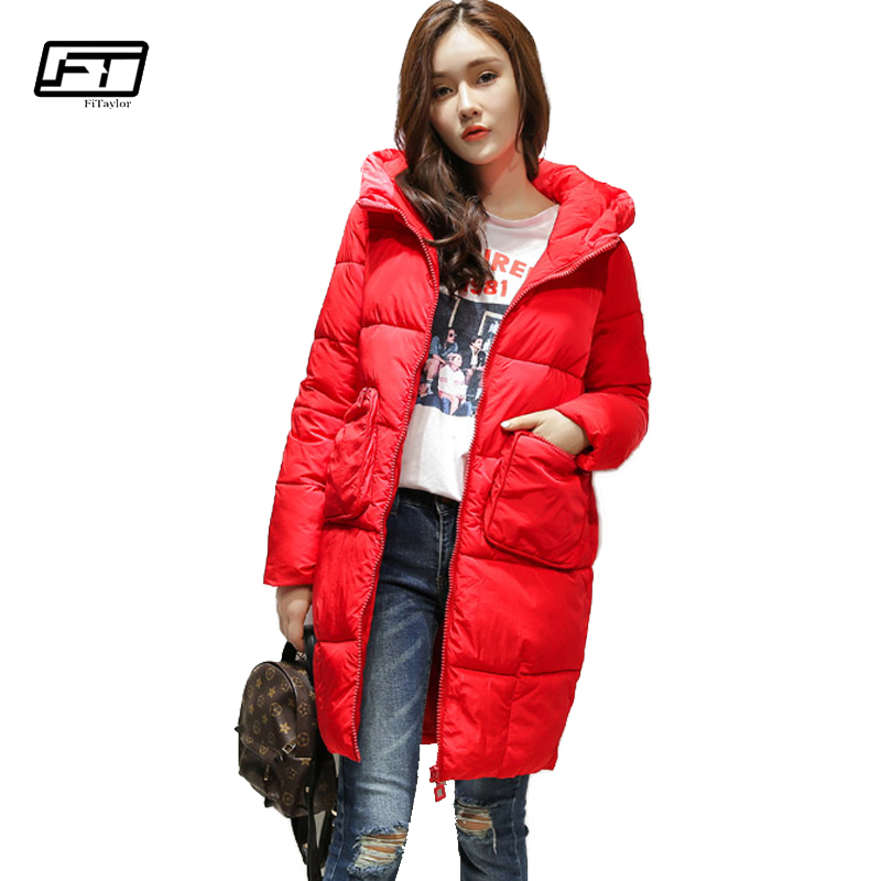 Fitaylor Winter Casual Warm Jacket Women 2017 New Solid Thick Cotton Padded Coat Medium Long Overcoat Hooded Parka Mujer 2017 new fashion winter jacket men long thick warm cotton padded jackets coat parka overcoat casual outwear jacket plus size 6xl