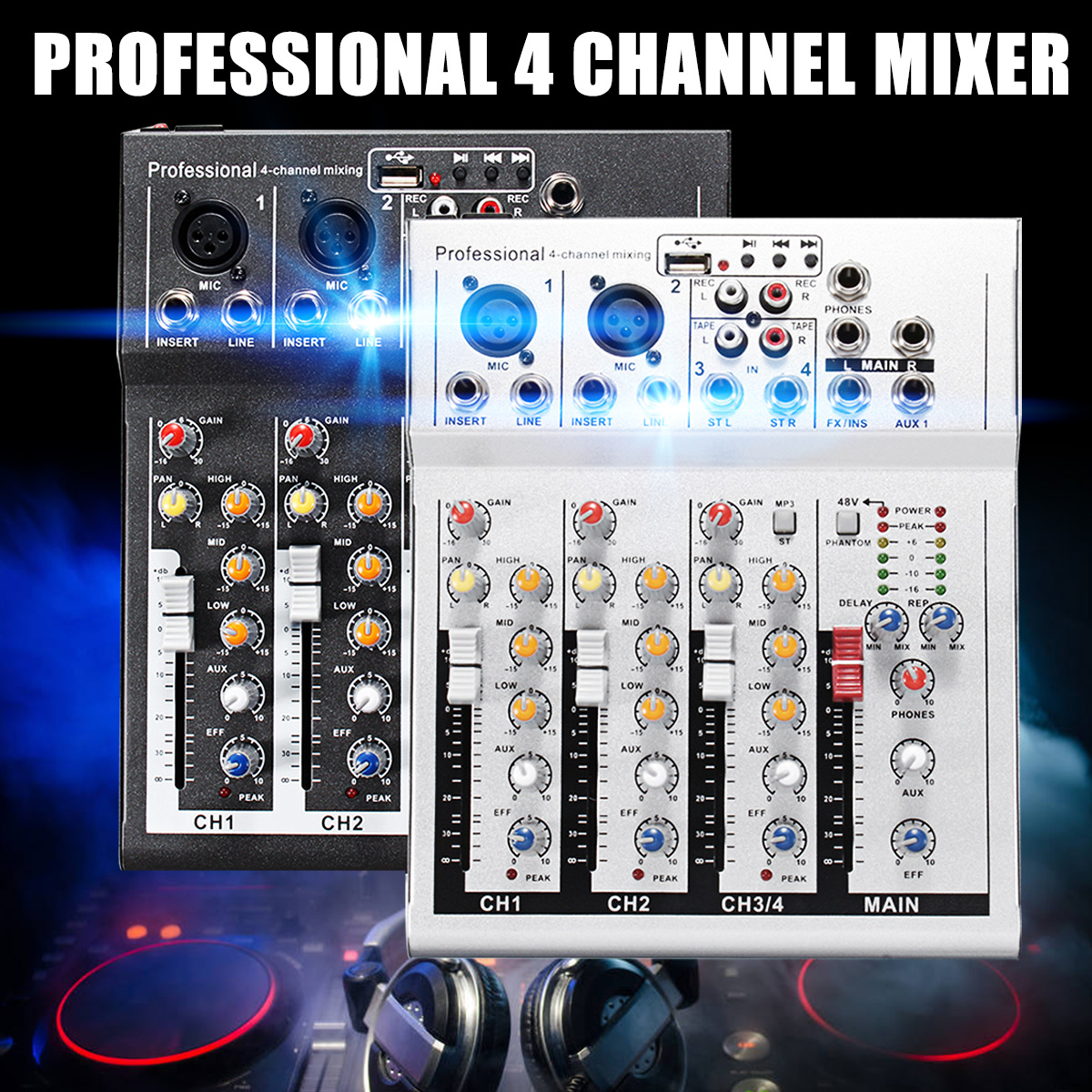 лучшая цена 4 Channel Professional Live Mixing Studio Audio Sound Console Black/Silver DJ Mixer Console Network Sound Card for Family KTV
