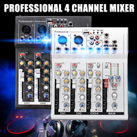 4 Channel Professional Live Mixing Studio Audio Sound Console Black/Silver DJ Mixer Console Network Sound Card for Family KTV