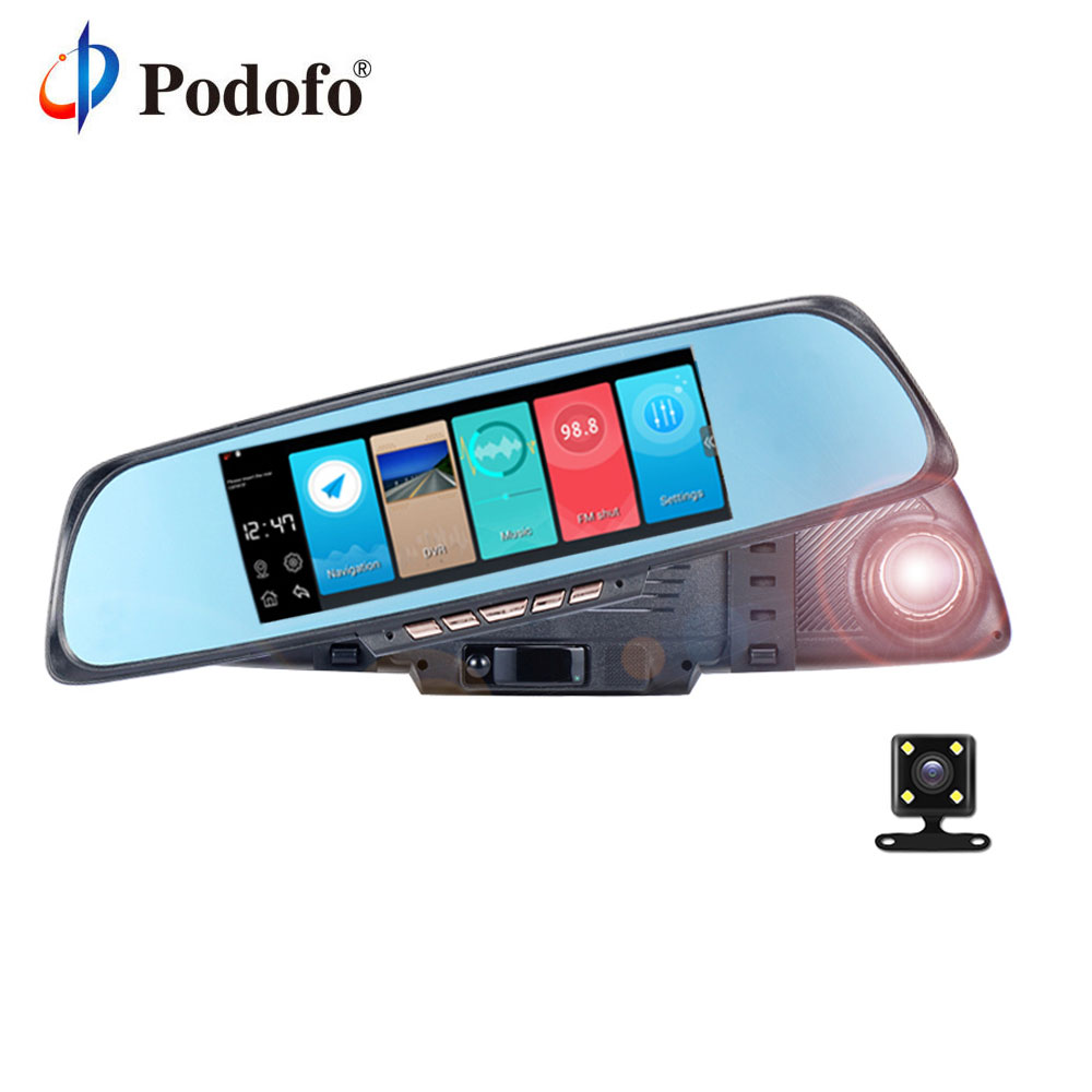 Podofo 6.86'' K05 Android Navigation Mirror WIFI Dash Cam FHD 1080P Car recorder Autoregistrators DVR Dual Lens Camera Review e ace car dvr android touch gps navigation rearview mirror bluetooth fm dual lens wifi dash cam full hd 1080p video recorder