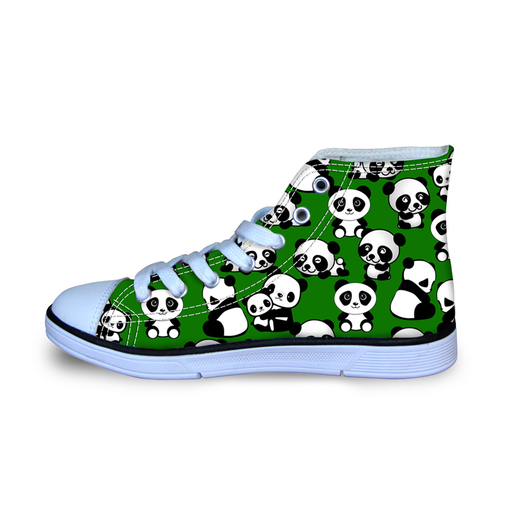 Animals Cute Panda Canvas Shoes for Man Autumn Flat Sneakers for School Boys Students Ultralight Loafers Comfort Size 29-34