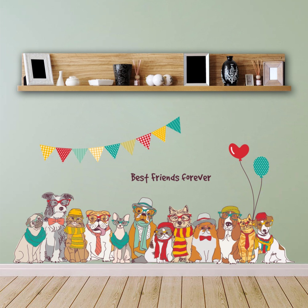 Cute dog kids room wallpaper kindergarten classroom cabinets wardrobe decoration cartoon dog combo family mural art stickers Игрушка