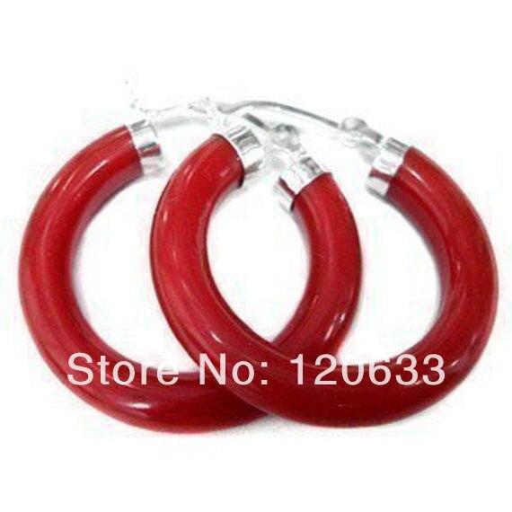 Серебро-ювелирные изделия Натуральные Бусы Красивые Природные Малайзии красный камень двойной круг изысканные серьги [пара] серьги