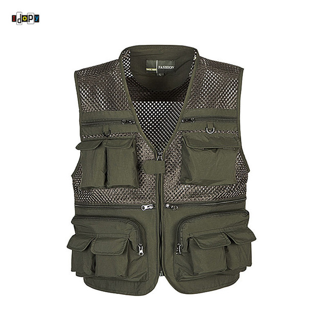 High Quality Mens Mesh Outdoors Vest With Multi Pockets  Waistcoat Sleeveless Jacket For Men