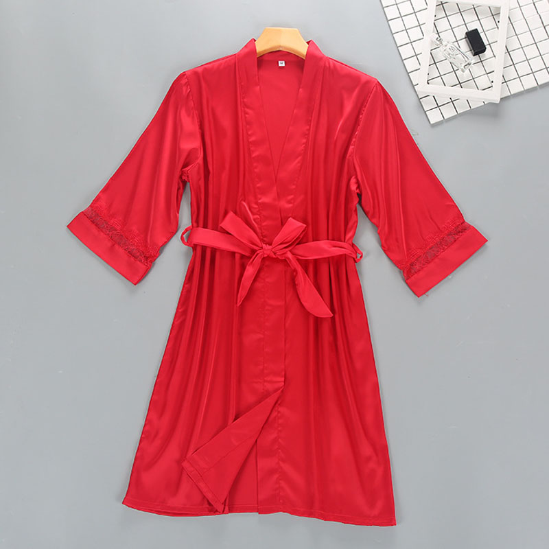 Three Quarter Sleeve Women's Kimono Bathrobes Lace & Satin Patchwork Female Sexy Nighties Robes Sleepwear
