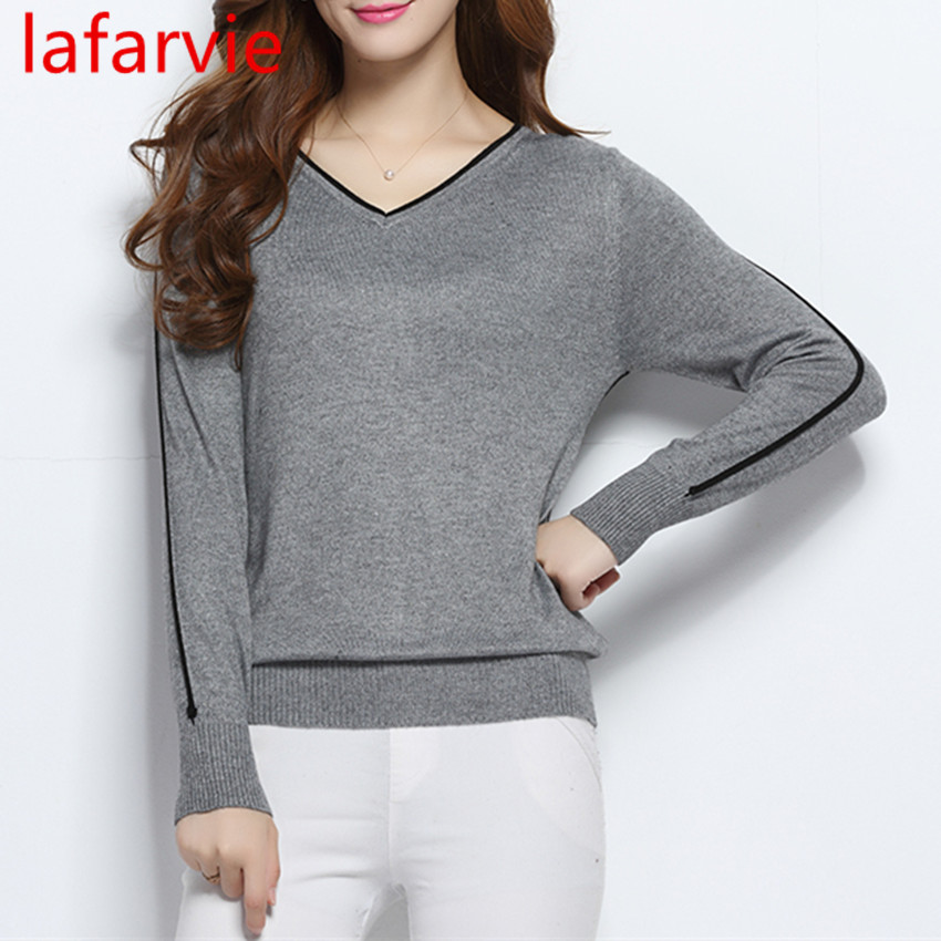 LAFARVIE LOWEST PRICE Women Fashion Outwear Pullover Knitted Cashmere Sweater High Quality New Design Pure Colors Free Shipping