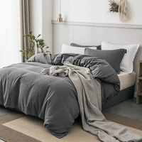 PHF Velvet Duvet Cotton Cover With Buttons 2 Pillowshams Waffle Bedding Sets Texture Luxury Cozy Bedclothes Queen Size