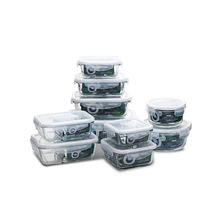 Glass Meal Prep Food Storage Lunch Box with BPA Free Airtight Snap Locking Lids Freeze Reheat Oven Safe Containers Crisper