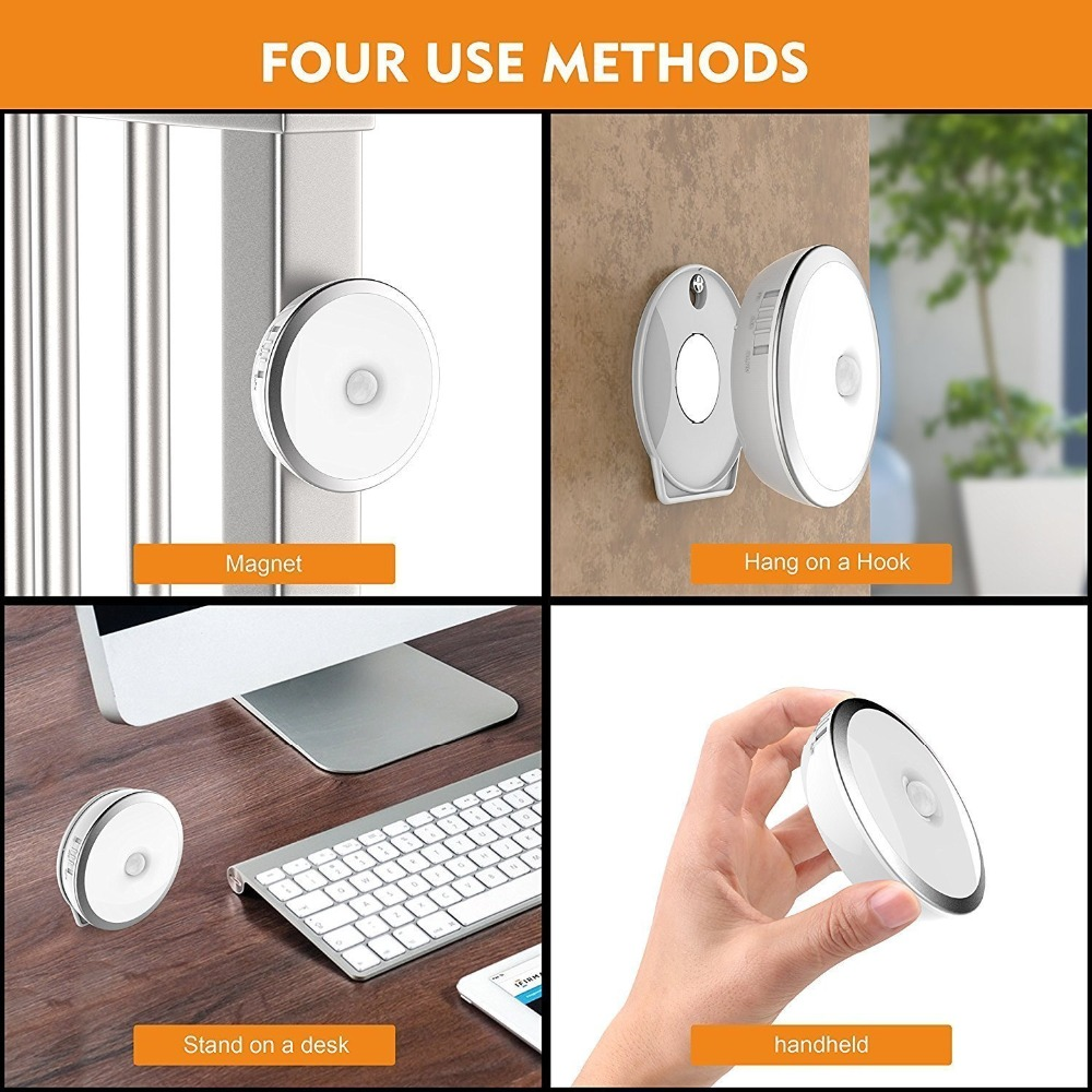 Motion Sensor Led Light 3 Modes 6 LED Rechargeable Motion Sensor LED Night Light with USB Cable Auto On Off Cordless Wall Light in Under Cabinet Lights from Lights Lighting