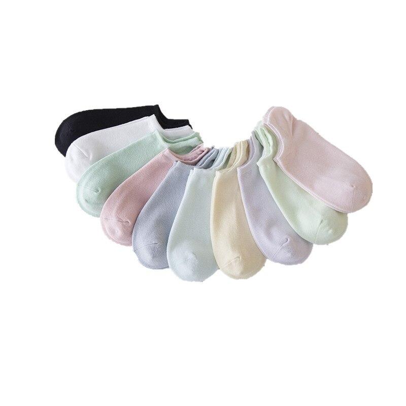 Летние женские короткие носки яркие цвета носки лодочки хлопок сплошной цвет повседневные короткие женские носки низкие носки SC050 10pairs