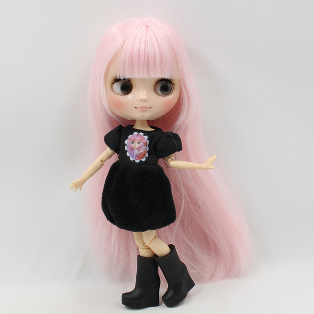 Middle Blyth 1/8 doll nude transparanted skin  joint body 20CM light pink straight hair with bangs No.210BL2352 free shipping