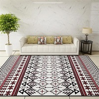 National Style Parlor Living Room Decorative Carpet Floor Door Yoga Mat Pad Bathroom Area Rug Red