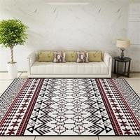 National Style Parlor Living Room Decorative Carpet Floor Door Yoga Mat Pad Bathroom Area Rug Red