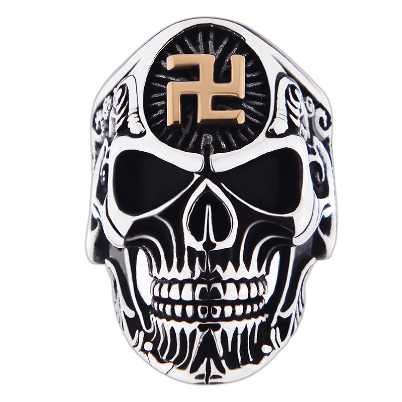 Vintage Silver Stainless Steel Carving Figure Skull Fashion Men's Ring