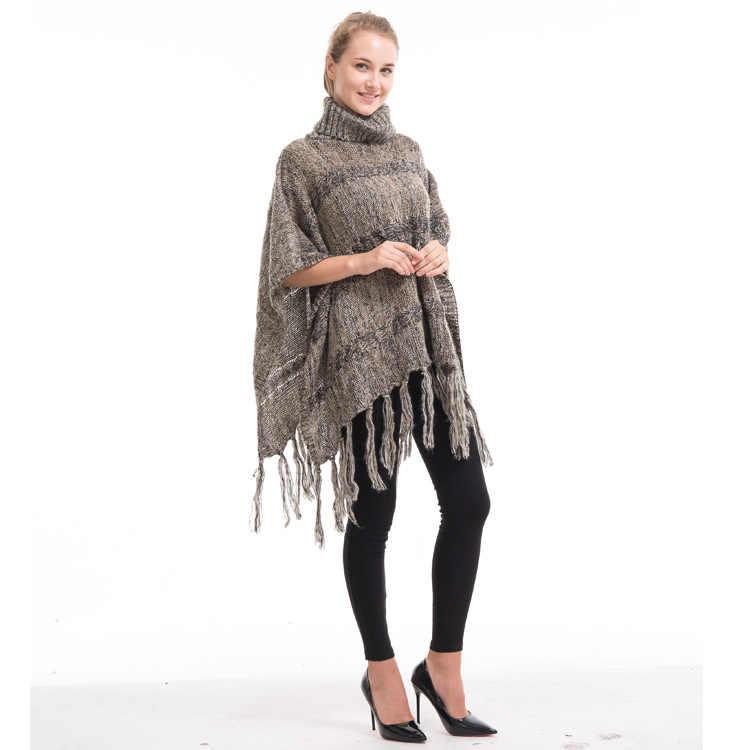 Herfst en Winter Grote Code Losse Hoge Kraag Kwastje Warm Cape Sjaal Europese en Amerikaanse Mode Honderd Gebreide Truien