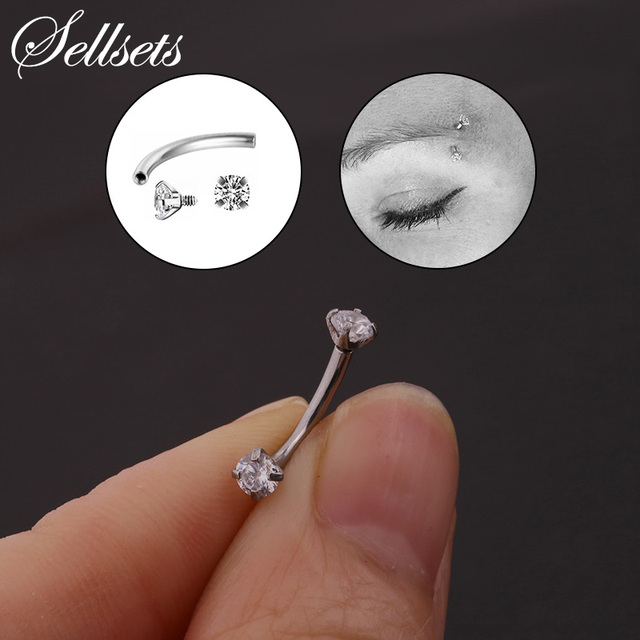 Clear Gems 16g Internally Threaded Surgical Steel Curved Barbell Rook Earring Eyebrow