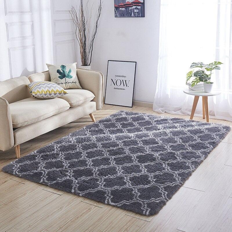 Épaissi lavé soie cheveux tapis antidérapant salon table basse couverture chambre chevet tapis yoga tapis solide couleur peluche - 3