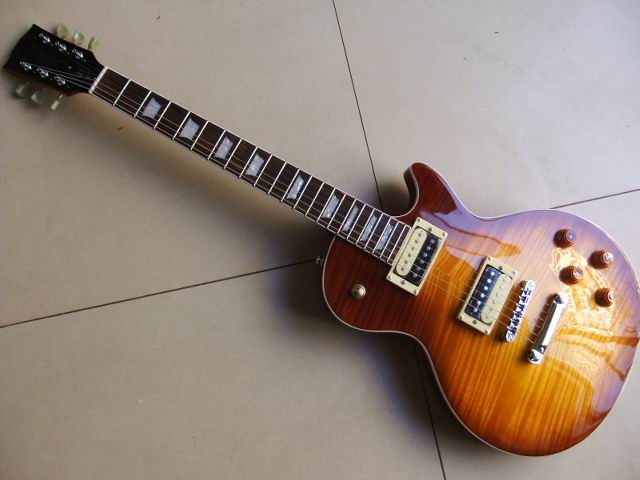 Hot lp guitar 1959 R9 Tiger tabby maple wax pickups LP electric guitar Standard sunburst Free shipping in stock 101222