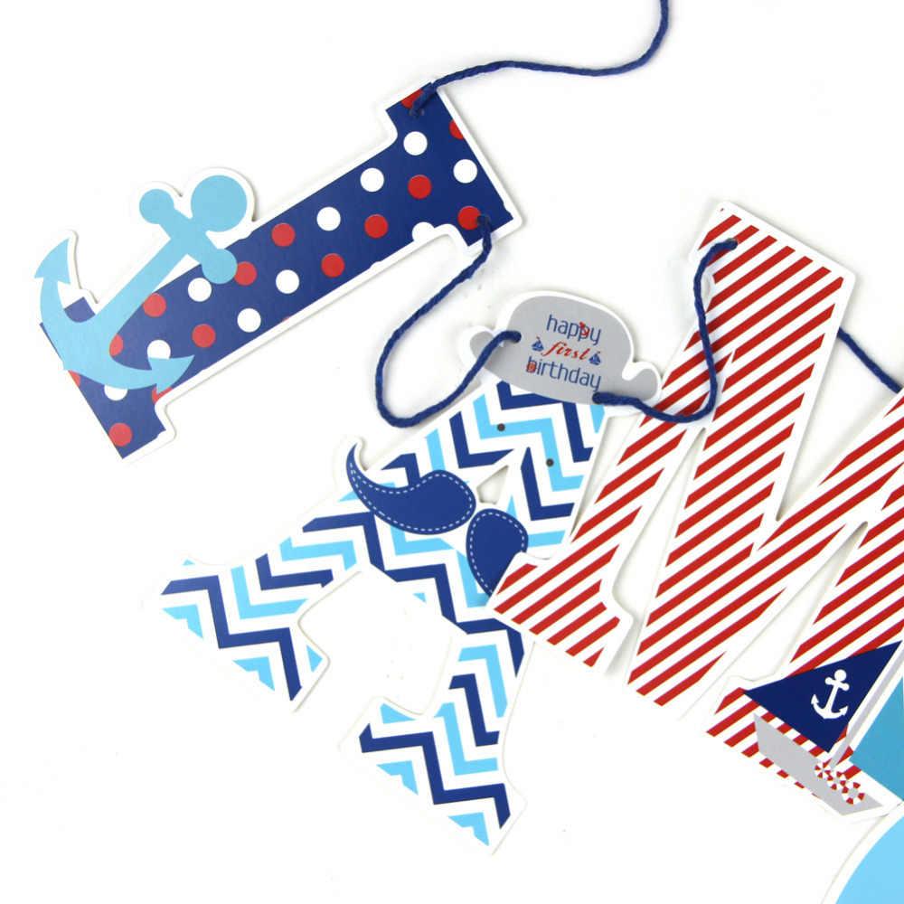 1.2 m/4ft I AM ONE แบนเนอร์ Nautical Party 1st แบนเนอร์ Anchor Highchair ทารกแบนเนอร์วันเกิดแบนเนอร์เด็กโรย Photo Prop