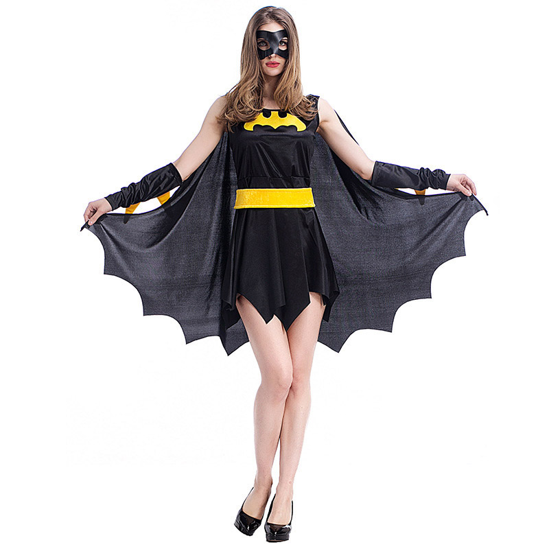 Superh-roe-Batman-Halloween-Disfraces-para-mujeres-fiesta-Cosplay-disfraz-batgirl-vestido-con-capa-Ni-as