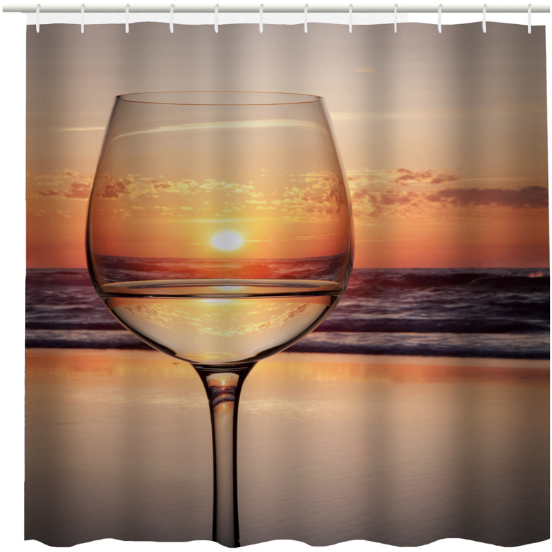 Shower Curtains Sunset Beer Wine Glass Cup Pattern Custom Design Creative Curtain Bathroom Waterproof Polyester Fabric