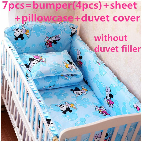 Discount! 6/7pcs Cartoon crib ruffle cotton product suite washable cotton baby bed around children,120*60/120*70cm