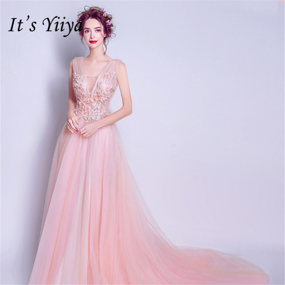 It's YiiYa Train   Evening     Dress   Beading Pearls Appliques Party Gowns Sexy Illusion Flowers V-neck Long Formal Prom   Dresses   E154