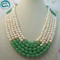 Уникальный жемчуг ювелирный магазин классический 5row Лучшие качества пресноводной жемчужиной зеленый нефрит ожерелье AA7 8MM Модные женские ю