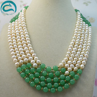 Unique Pearls jewellery Store Classic 5row top quality white freshwater pearl green jade necklace AA7 8MM Fashion Lady's Jewelry