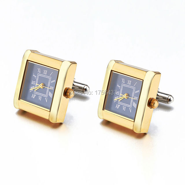 Lepton Functional Watch Cufflinks For Men Square Real Clock Cuff links With Battery Digital Mens Watch Cufflink Relojes gemelos 4