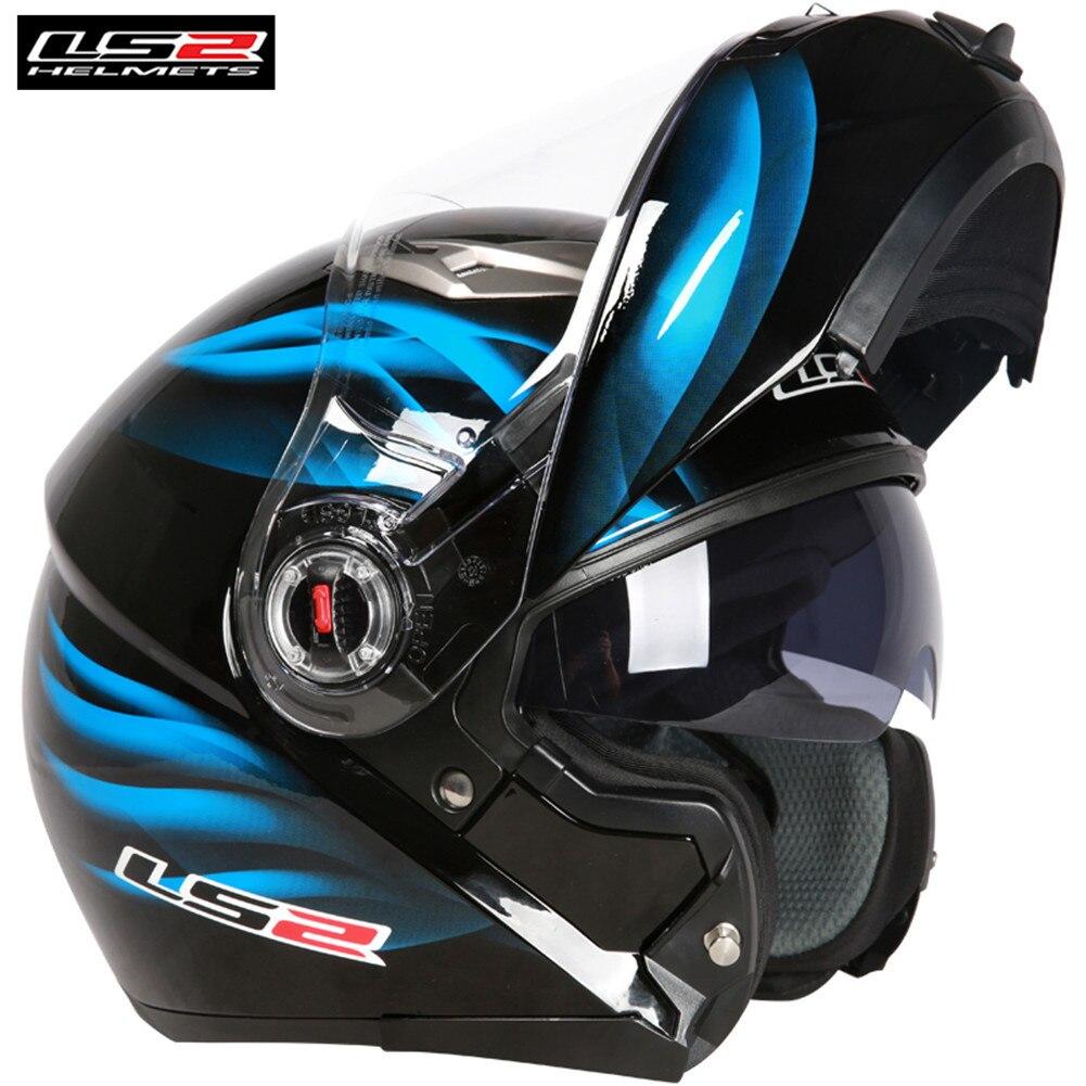 LS2 Modulaire Relevable Casques de Moto Casque Moto Cascos Kask Capacetes de Motociclista Double Visières Touring Casques