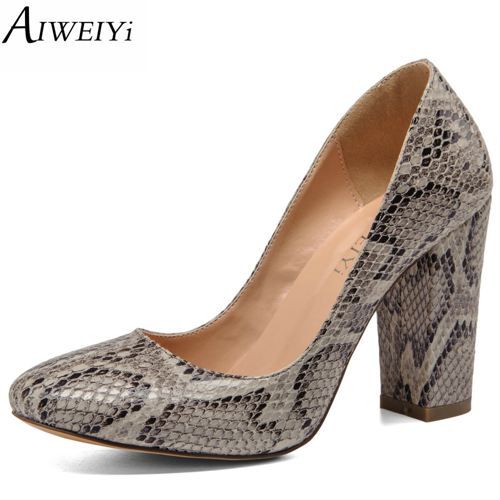 AIWEIYi 2017 Women Pumps Snake Print PU Leather Square High Heel Shoes Woman Round Toe Slip On Black Ladies Wedding Shoes Pumps nayiduyun women genuine leather wedge high heel pumps platform creepers round toe slip on casual shoes boots wedge sneakers