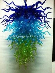 Projekt niebieski odcień 40 cali LED rękodzieło kryształ oświetlenie żyrandol ze szkła