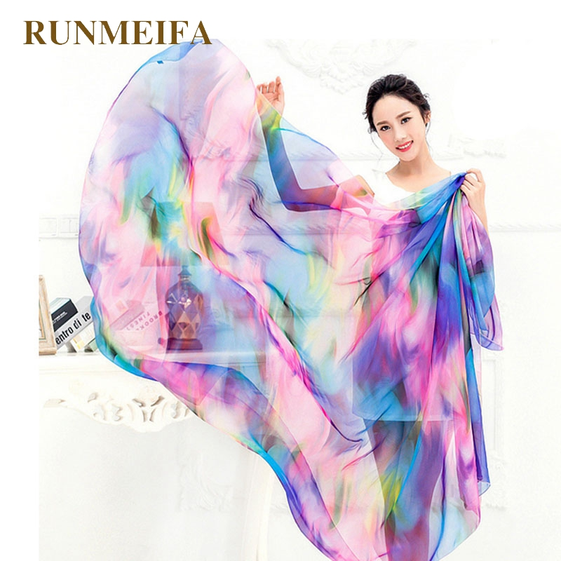 RUNMEIFA Women Chiffon   Wrap   Pareo Sarong Dress Bikini   Scarf   Beach Bikini Swimwear Plus Size   Scarf   About 120x190cm Factory Outlet