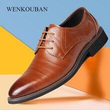 Uomini di Modo di estate Casual Scarpe Classiche Appartamenti del Cuoio Genuino di Sesso Maschile Formale Oxford Pattino di Vestito di Lusso Zapatos Hombre Più Il Formato 2020