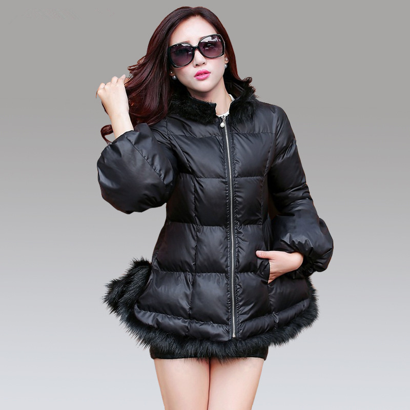 2 Colors Women Fur Collar Warm Coat Winter Cotton-padded Puff Sleeve Zipper Jacket Female Outerwear 2016 New Fashion ZP418