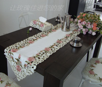 40*190cm Elegant Embroidery Table Runner Pastoral Fabric Tea tablecloth, Luxury Table mat table Cover for decoration