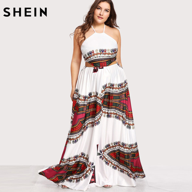 ce088a5ffe SHEIN Plus Size Summer Maxi Dress Sleeveless Ornate Print LaceUp Backless  Dresses Large Sizes Geometric Tribal