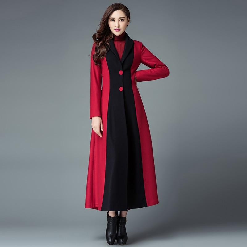 Taille Trench Plus Laine D'hiver 4xl Manteau Patchwork Cachemire Longue Mode Femmes 2017 La Noir S Nouveau rouge Veste Mince IzqwHtPC